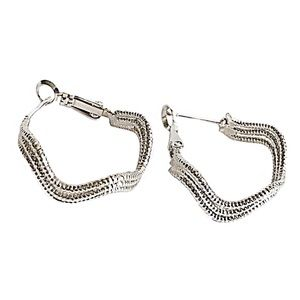 Jewelry - 925 Silver Plated Wave Hoop Earrings NWT
